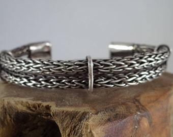 Sterling Silver Two Band Viking Weave Cuff Bracelet