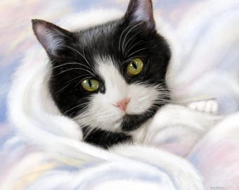 Custom Cat Portrait, Tuxedo Cat art, Pet Portrait, Realistic pet art, hand painted digital painting, Memorial pet gift