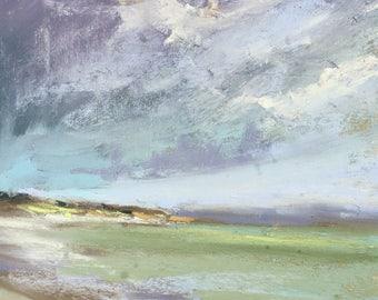 IRELAND Seashore Dramatic Sky plein air  Landscape Original Pastel Painting Karen Margulis 7x5