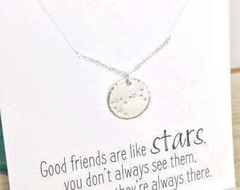 Friendship Necklace, Pisces Constellation Necklace, Long Distance Friend Gift, February Birthday Gift Zodiac Necklace Personalized Gift