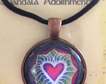 Rainbow Heart Mandala Pendant - glass  necklace, heart drawing, charm,  valentine necklace