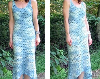 Indigo Dyed Knit Lace High Low Dress. OOAK. Hand dyed by JazzBoogie. Size Medium