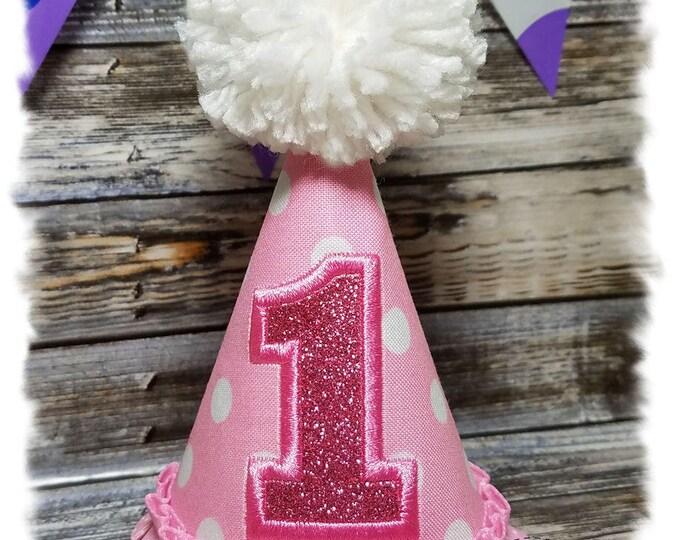 Pink Dog Birthday Hat,  Dog 1st Birthday, Cake Smash, Girl Dog Birthday, Polka Dot Dog Party Hat, Dog Birthday Party, Gotcha Day