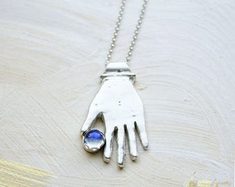 Hand Necklace, moonstone necklace, sterling silver jewelry, gift for wife sister girlfriend, hamsa palm charm pendant anatomy talisman