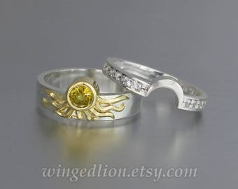 Sun and Moon ECLIPSE engagement ring set in 18k & silver with Yellow Sapphire