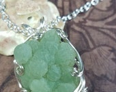 Prehnite Crystal Pendant Necklace with Silver Wire Wrap