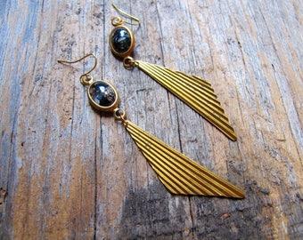 Black and Brass Triangle Earrings, Brass Dangle Earrings, 1970s Style Jewelry, Modern Vintage Earrings, Brass Charm Dangle Earrings