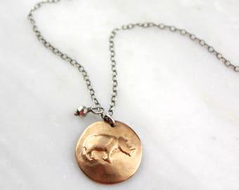 Rhinoceros Bronze Charm Necklace