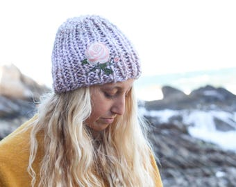 Knit Beanie, Pale Pink Rose Patch on Light Tan Knit Beanie, Adult Woman Winter Hat