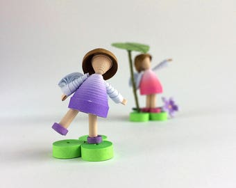 Two Tiny Rainy Day Fairies made from paper, gift for friend, collectible fairy figurines, fairy miniature decoration, paper quilling