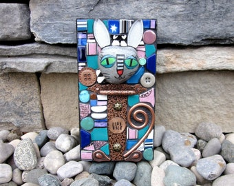 Play Nice. (Small Original Handmade Mixed Media Mosaic Assemblage by Shawn DuBois)