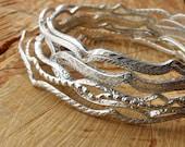 Sterling Silver Bangle Arabesque Bangle Bracelets Choose Style & Size Boho Bracelet Patterned Wire Bangle Bridesmaid gift for her