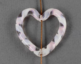 Large clear, pale pink and white ribbon design heart lampwork pendant, frame bead - 33mm x 36mm - 1pc - LA127