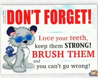 Brush Your Teeth, Don't Forget, Bathroom Sign for Kids - Seacats