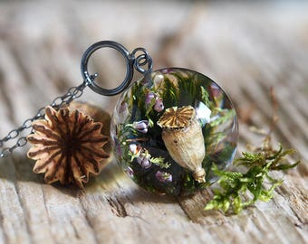 Green Moss, Poppyhead  and Heather Pendant, Large Resin Round with Oxidized Silver Chain, Forest Theme, Botanical Jewelry, Terrarium Jewelry