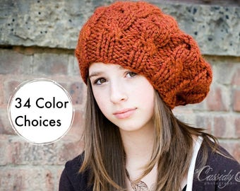 Womens Chunky Knit Hat - Spice Rust Burnt Orange Cable Beret - Fall Fashion Warm Winter Hat Knit Accessories - 34 Color Choices