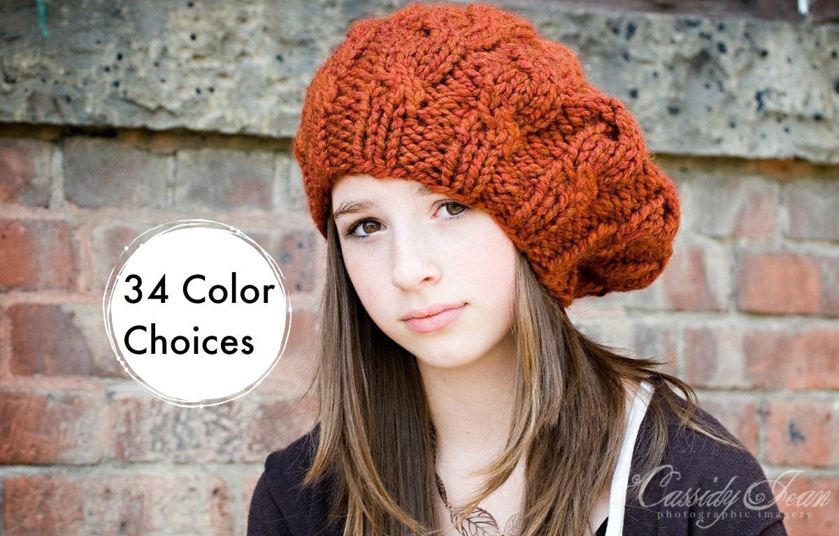 Hats cowls and original crochet and knitting patterns by pixiebell womens chunky knit hat spice rust burnt orange cable beret fall fashion warm winter bankloansurffo Images