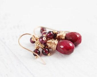 Ruby Rose Gold Earrings, Red Garnet Earrings, Ruby Gemstone Earrings, Small Drop Earrings, July Birthstone Earrings, Rose Gold Earrings