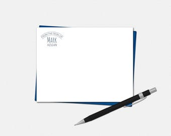 Modern Polka Dot Note Cards - Personalized Flat Note Cards for Men - From The Desk Of Note Cards - Personalized Stationery for Men