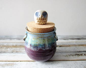 Pottery Jar with lid - glazed in turquoise, baby blue and purple plum