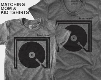 SALE! Matching Mom Son Listen Round TShirt | Mommy and Me | Mother Daughter Matching Shirt | Matching Mom Baby | DJ Gift | Gift for Mom