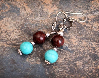 Sterling silver and gemstones. Jasper and Turquoise.  Sterling earrings. Simple earrings. SALE. CLEARANCE.