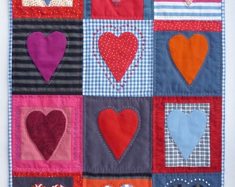 Twelve Hearts Patchwork and Appliqué Wall Hanging - handmade textile art / fiber art