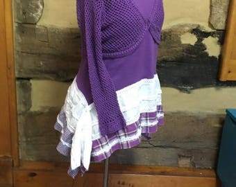 Womens Tunic Top Upcycled Bohemian Clothing  Boho Chic Hippie Clothes Festival Wear Long Sleeve Purple Crochet