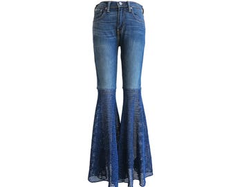 Unisex Size 28 Fits like Women's 27- Super Wide Bellbottoms - Slim Unisex Jeans - Crochet Pants - Elephant Flares - Free Shipping in USA