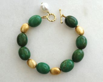 Green Turquoise, Gold Vermeil linked Coin bracelet