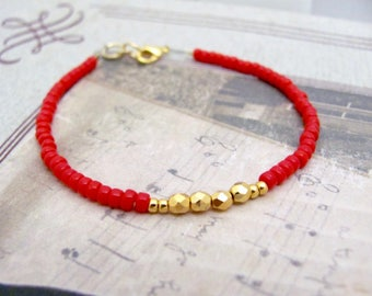 Christmas Holiday Red Bracelet, True Red and Gold Glass Beads, Beaded Bracelet, Friendship Bracelet, Dainty Petite, Stocking Stuffer