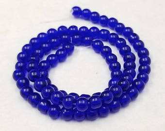80 Cobalt Blue Glass Beads 4mm round (H2608)