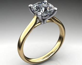 sabra ring – 2 carat round cut NEO moissanite engagement ring, two tone ring, colorless moissanite
