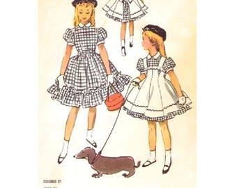 McCall's 3815 HELEN LEE Dress Pinafore Beret 1950s Dress Girl Size 8 ©1956