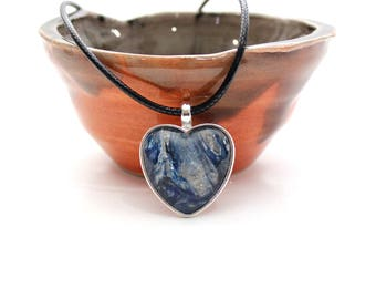 Heart Made with Paint Pendant in Navy Blue and Grey