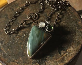 Handmade Gary Green Jasper Pendant Necklace with moonstone and tourmaline. green stone pendant. sterling silver One of A Kind ooak