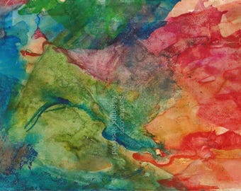 Abstract Watercolor Layored Rich Colors Original Art