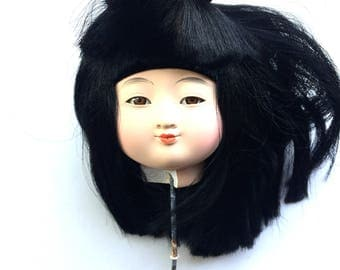 Japanese Doll Head - Girl Doll Head - Ichimatsu Doll Body Part D15-33