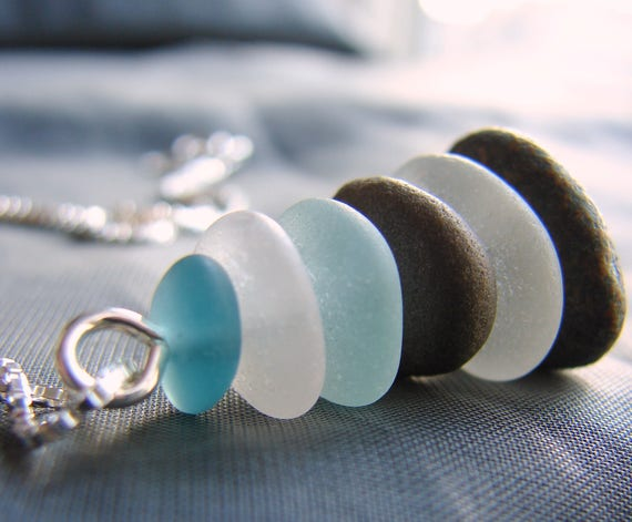 Sea Stack beach pebble and sea glass necklace in teal, soft aqua, white and stone