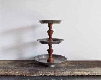 Upcycled Tiered Vintage Pie Pan Serving Display Stand
