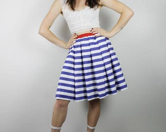S Blue Stripe Skirt,  Diy Red White Blue skirt, Handmade blue white stripe Skirt, Womens skirt, Diy Red White Blue Skirt, 4th July Skirt
