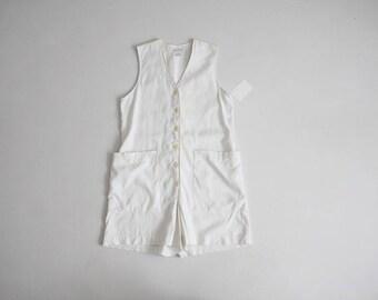 white linen romper   90s white romper   sleeveless romper
