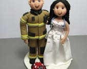 Reserved for Randi  balance due for a custom Firefighter and Nurse Wedding Cake Topper