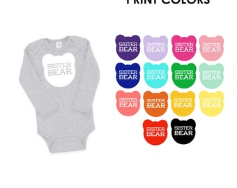 Sister Bear Cotton Long Sleeve One Piece Romper in Heather Grey - Baby Shower Gift, New Baby, Expecting, Mom to Be