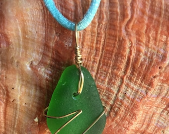 Beautiful Emerald Green California Sea Glass Pendant Gold Filled Wire Freeform Wrap
