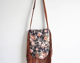FRINGE bag // floral print brown suede
