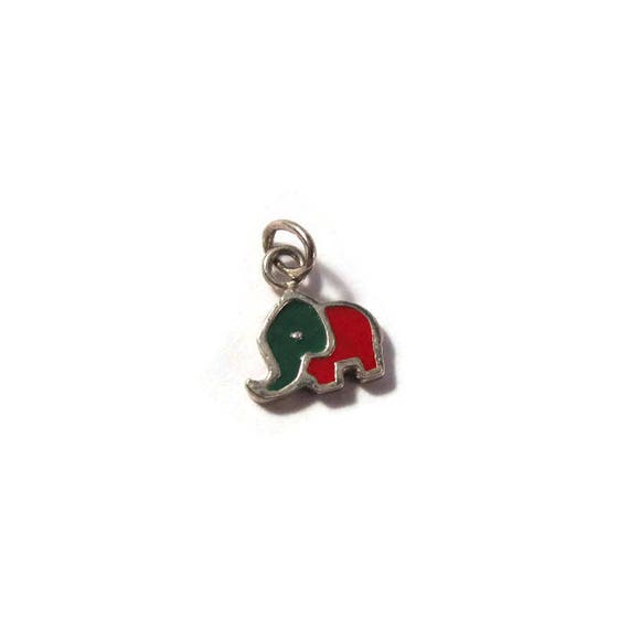Tiny Elephant Charm, .925 Sterling Silver Animal Pendant, Small Red and Green Charm for Making Jewelry, 10mm x 9mm (L-Mix9d)