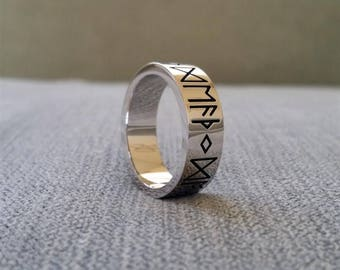 "Rustic Mens Wedding Band Ring Nordic Runes Till Death Do We Part Old World Norse Mythology Viking 14K White Gold Hammered ""The Odin"""