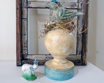 UP-CYCLED - old made new treasure - bird finial - decor - spring - NO110