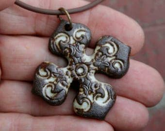 Bohemian Cross Stoneware Pendant 1 | focal pendant | jewelry supplies